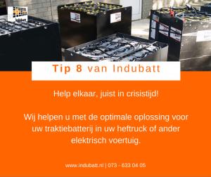 Help elkaar, juist nu in crisistijd Wij helpen u met de optimale oplossing voor uw traktiebatterij in uw heftruck of ander elektrisch voertuig.