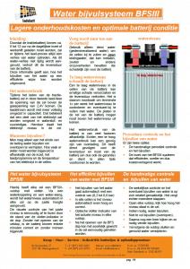 Informatie watervulsysteem BFSIII